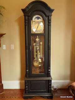 black gold grandfather clock
