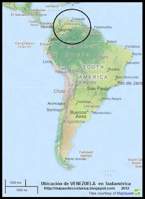 Ubicacion de VENEZUELA en Sudamerica, OpenStreetMap