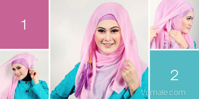 Cara Memakai Jilbab Segi Empat Modern Warna Pink