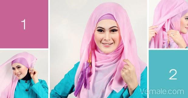 Cara Memakai Jilbab Segi Empat Modern Warna Pink | Cara ...