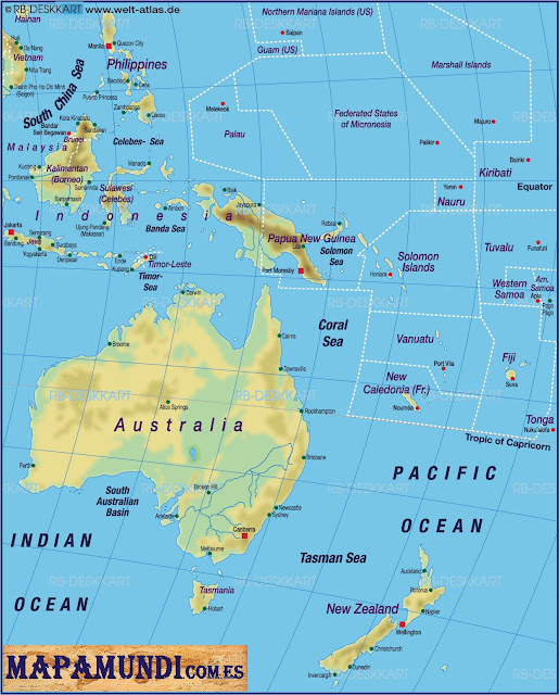 Mapamundi Mapa de Oceania fisico