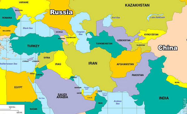 Countries Bordering Iran Map - Russia map and surrounding countries