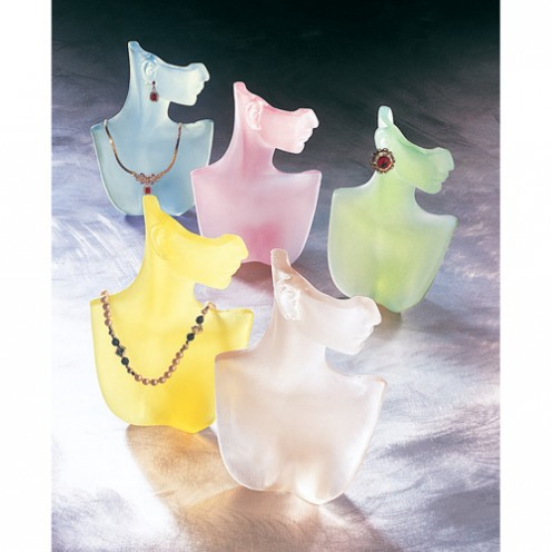 Frosted Color Bust Necklace and Earring Display
