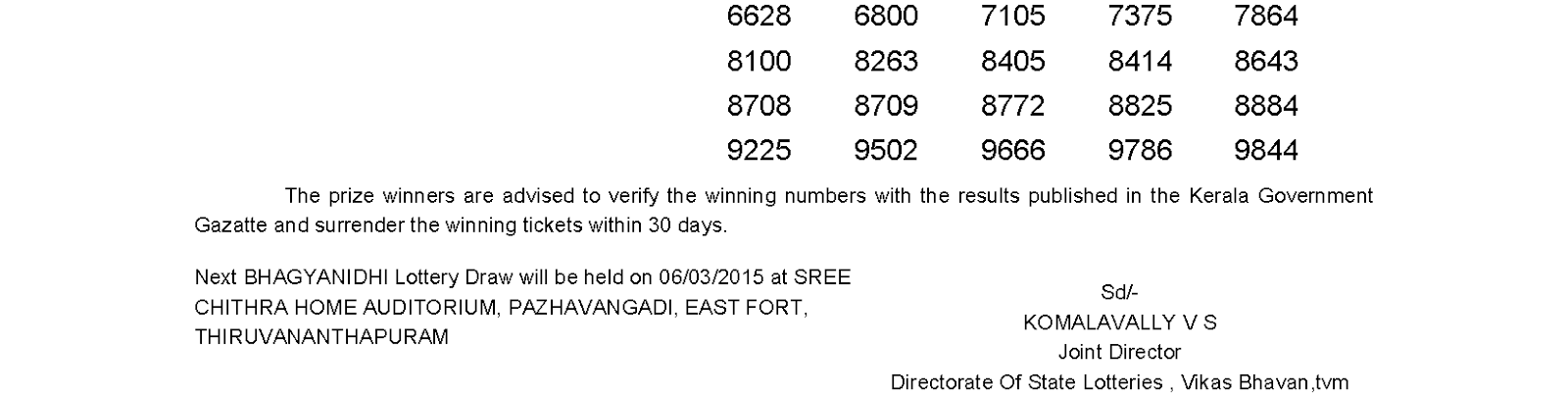BHAGYANIDHI Lottery BN 177 Result 27-2-2015