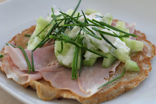 blini with ham, cucumber and chives