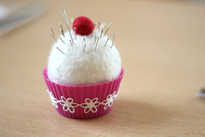 Cute cupcake pin cushion