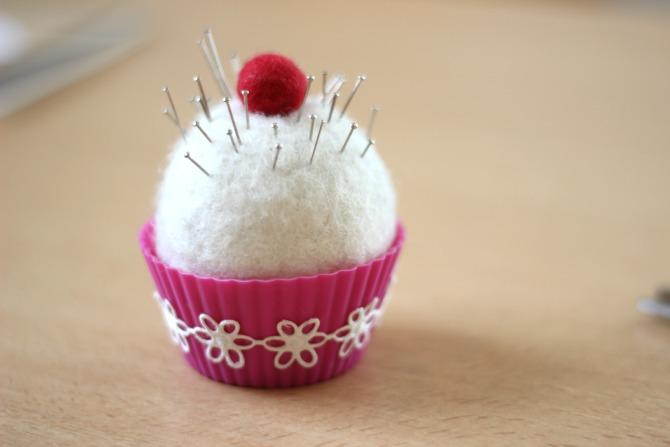 Cute cupcake pin cushion