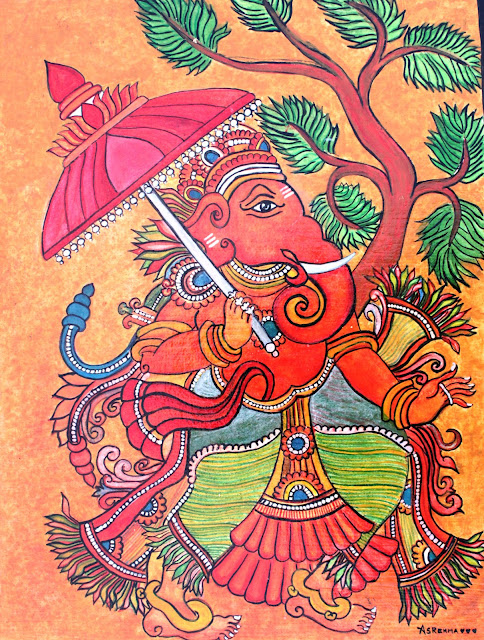 Arts and crafts kerala mural ganesha for Mural art of ganesha