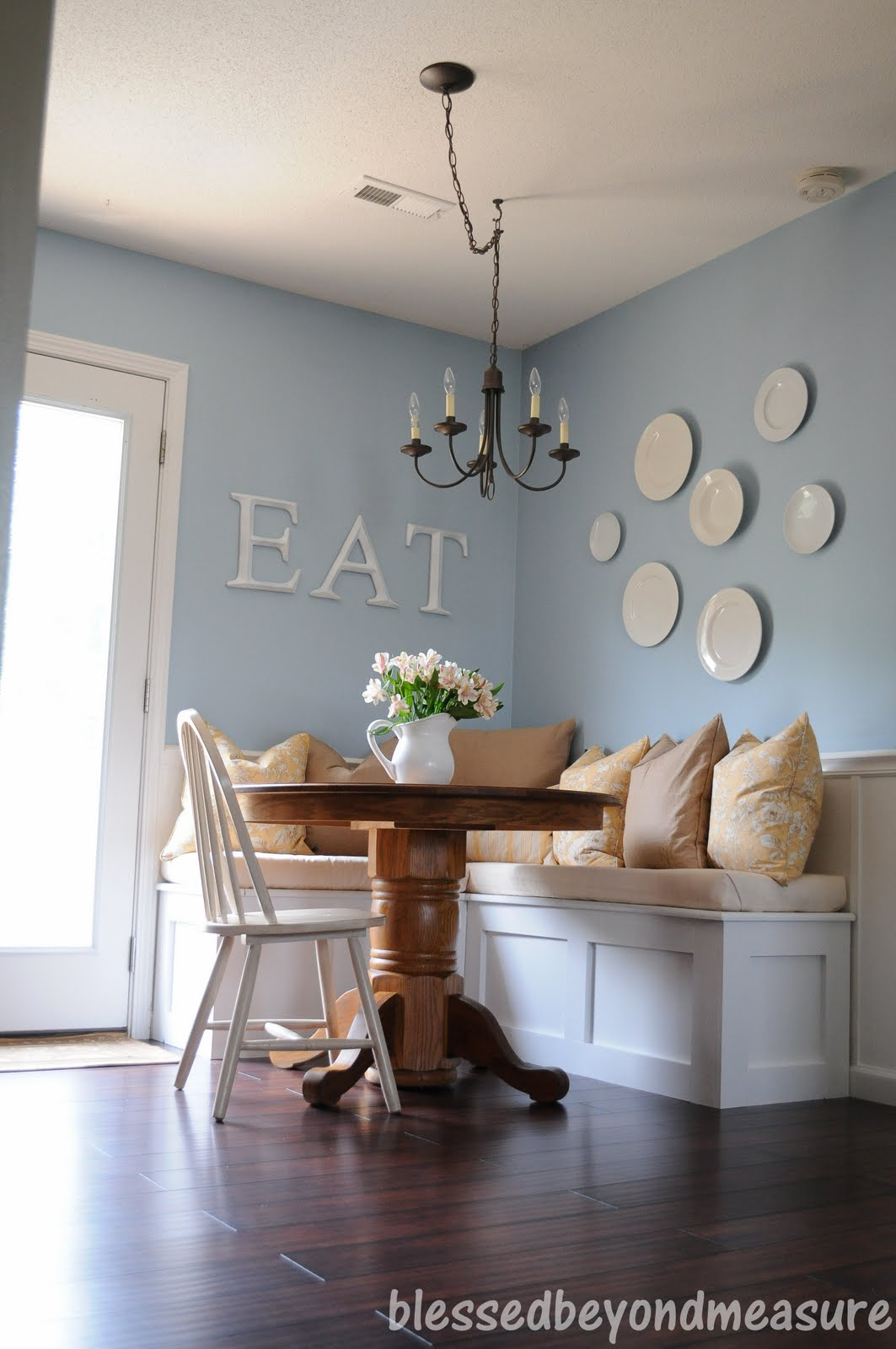 Blessed beyond measure our new banquette seating - Kitchen nook table ideas ...