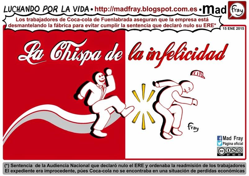 Viñeta, coca-cola mantiene los despidos en su fabrica de Fuenlabrada. La chispa de la infelicidad, Coca-cola