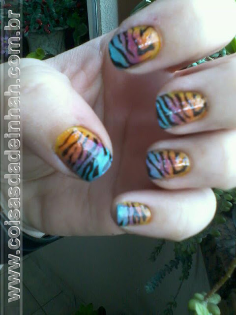 unha degrade ombre nail zebra animal print nail art carimbo