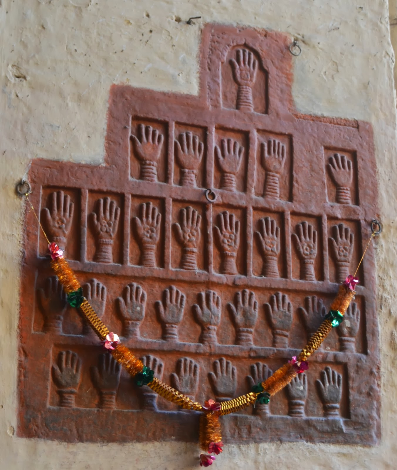 Womens handprints at Jodhpur fort