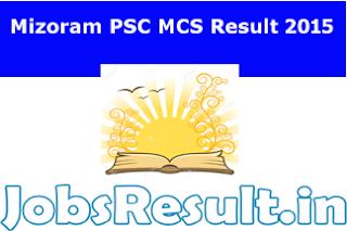 Mizoram PSC MCS Result 2015