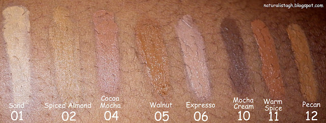 Swatches of milani smooth finish cream to powder