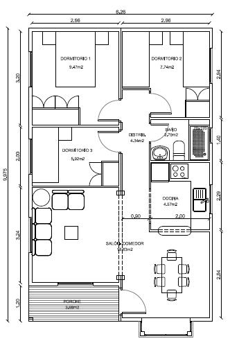 Plano casa madera prefabricada 62 m2 planos de casas gratis - Planos casas modulares ...
