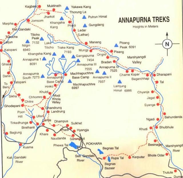 Map of round Annapurna trek