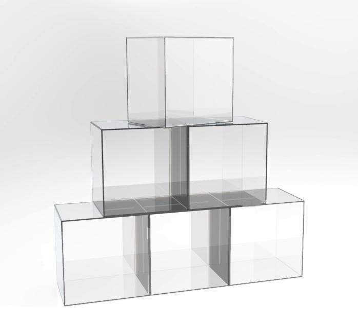 Arredare casa cubi componibili in plexiglass trasparente for Libreria cubi ikea