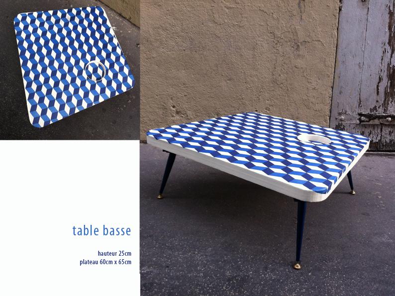 table basse en carton. plateau avec motif géométrique fabriquée à marseille par juliadesign