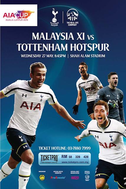 AIA Cup Malaysia XI vs Tottenham Hotspur (2015), Tonton Full Match
