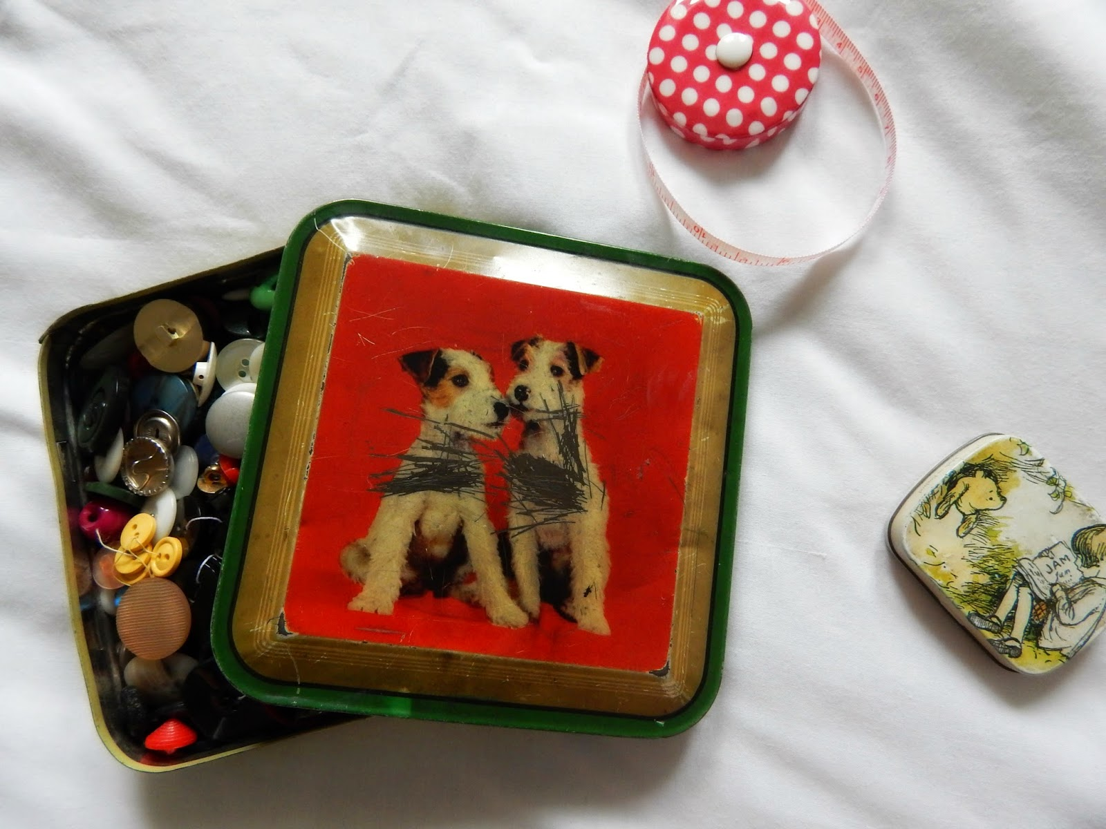 Vintage Puppy Button Tin