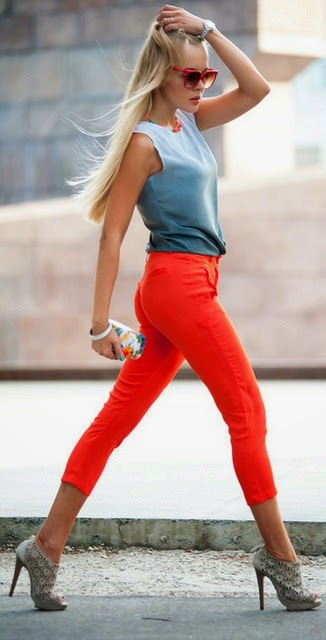 Blue and Red style - i love red pants street style