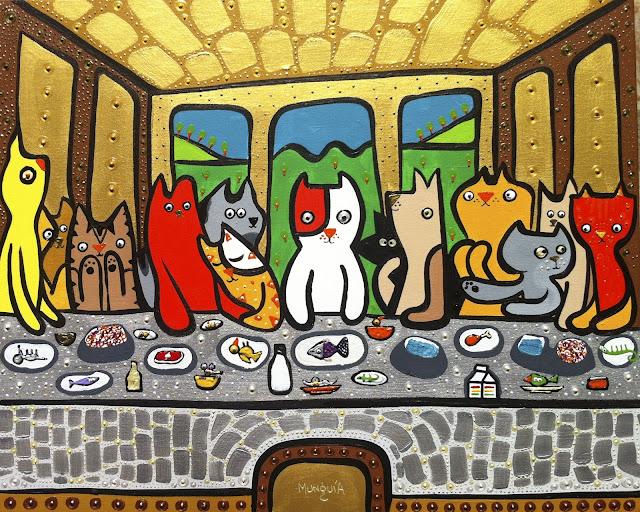 Gatos en Pinturas Famosas en Exposición