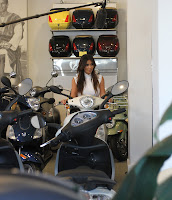Kim Kardashian at a motorcycle store