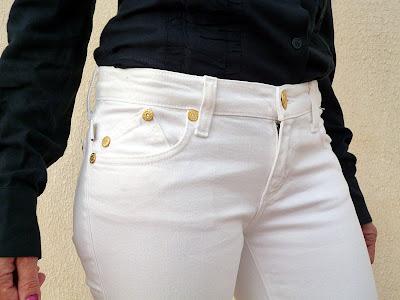 parte superior delantera lateral tejanos blancos Victoria Beckham
