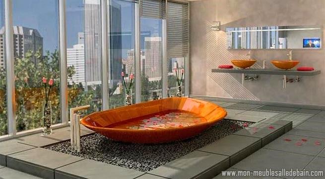 Meuble salle de bain en bois meuble salle de bain - Baignoire ronde en bois ...