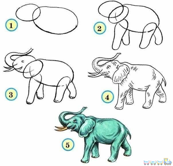 Drawing Simple Animal Elephant pics