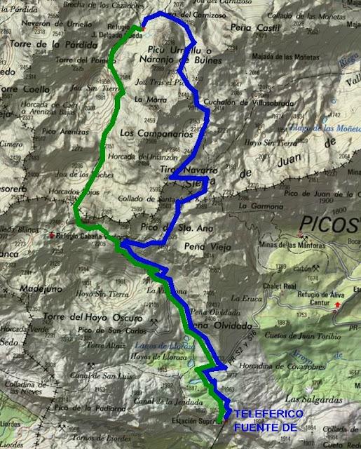 Picos de Europa. Ruta Fuente Dé-Tiros Navarro- Refugio Urriellu-Horcados Rojos.