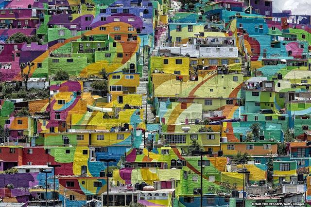 Pemukiman Meksiko disulap jadi lukisan dinding terbesar