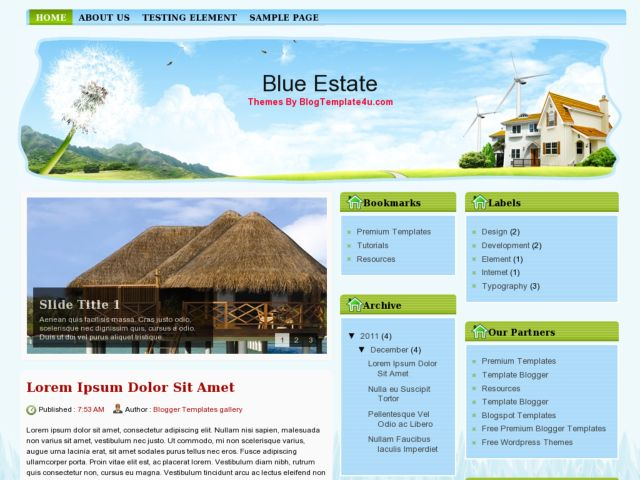 Blue Estate Blogger Template