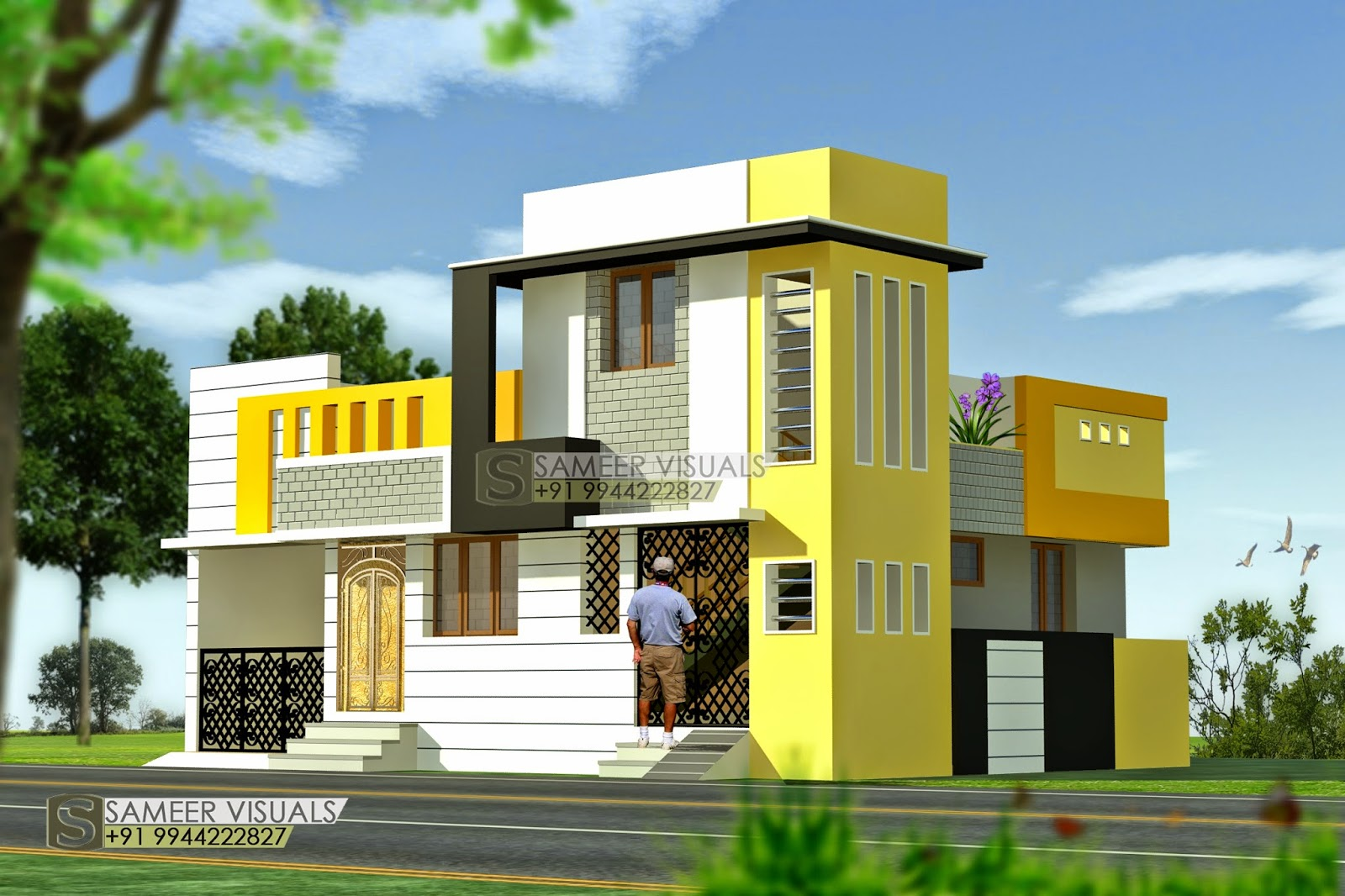 Ground Floor House Elevation Design : Sameer visuals
