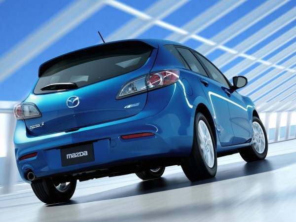 Rear view of blue 2012 Mazda 3
