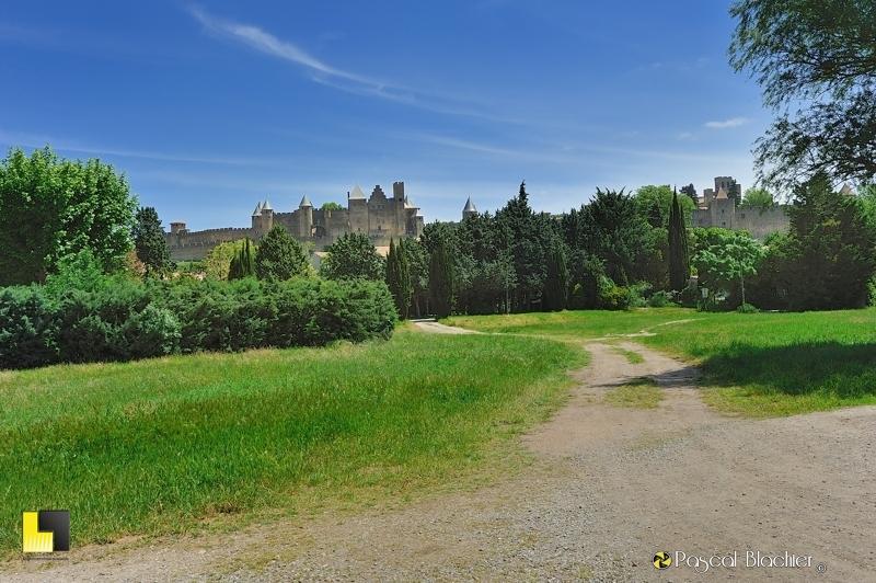 Vu du parc de Carcassonne la cité et le château photo au delà du cliché