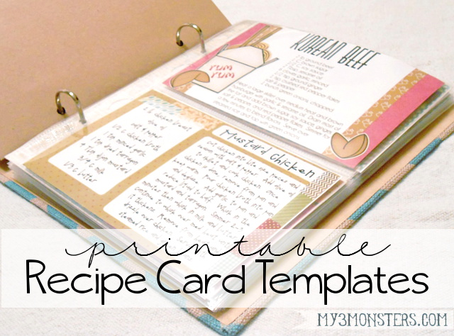My 3 Monsters Printable Recipe Card Templates – Templates for Recipe Cards