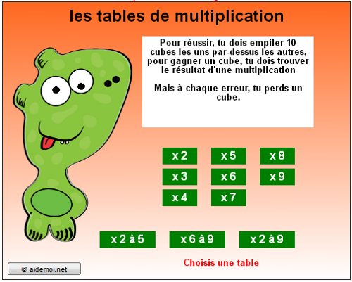 Exercices en ligne for Les tables de multiplication en ligne