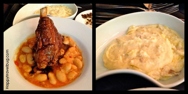 lamb shank, gigantes beans and mashed potatoes