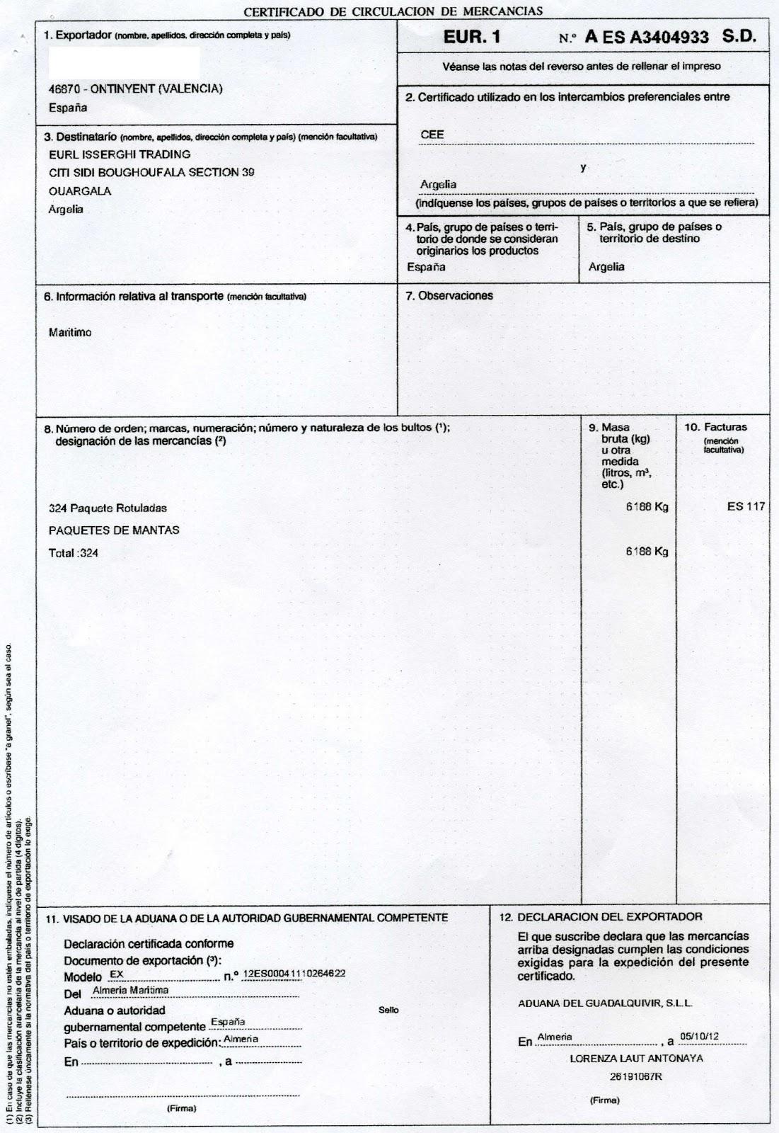 Documentos Comercio Internacional Certificado De Origen Eur1