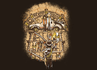 "Threadless Back to the Future x Indiana Jones T-Shirt ""Been There..."" by Jeremy Owen"