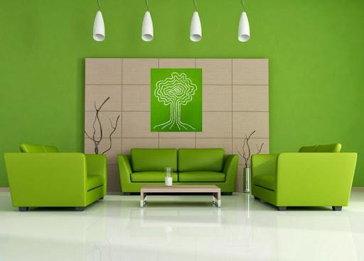 Green Minimalist Interior Living Room Design