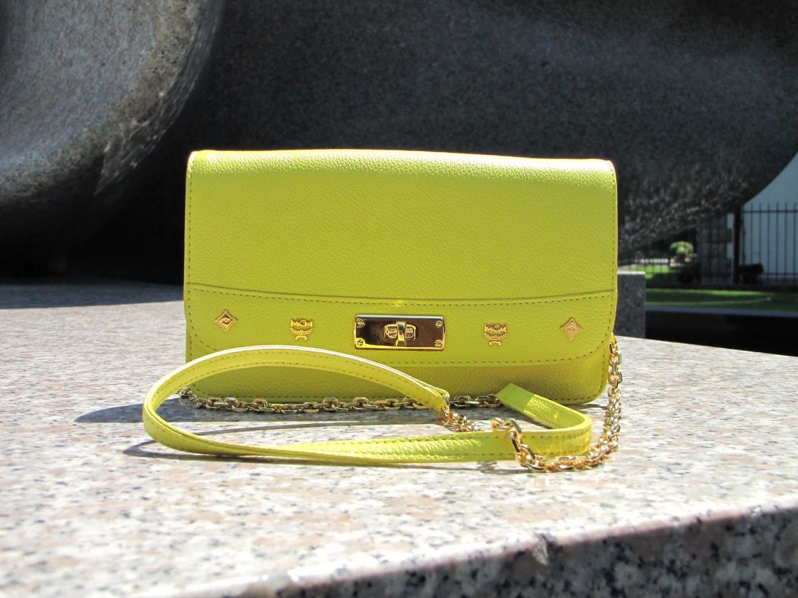 MCM bag, yellow bag, MCM Lady Crossbody Wallet Large Yellow