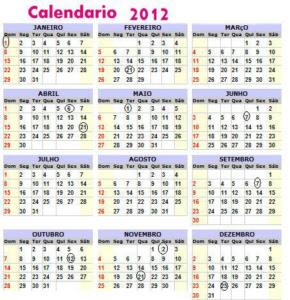 Calendário de 2012