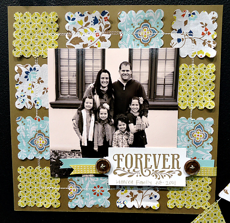 Comfort Cafe Fabric Scrapbook Page