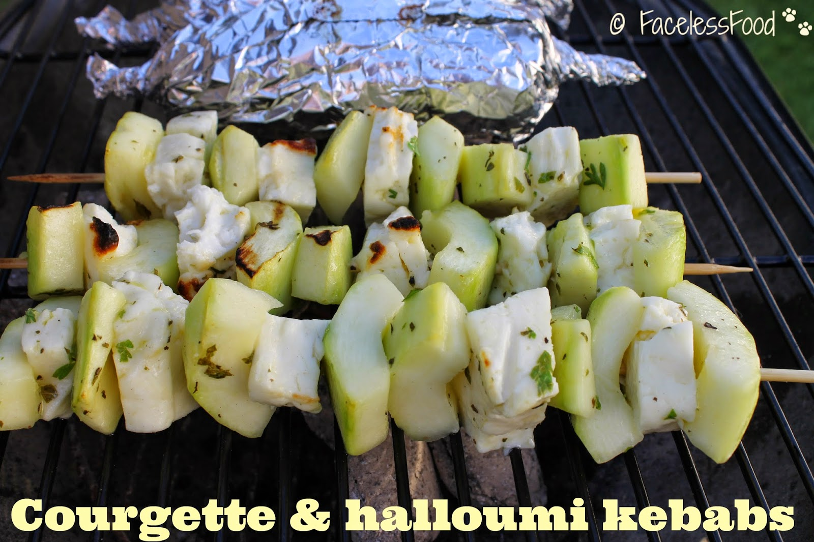 Courgette & halloumi kebabs