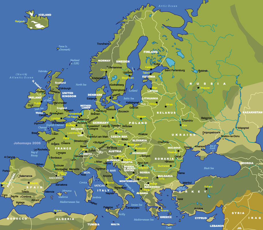 Harta Hidrografica A Europei