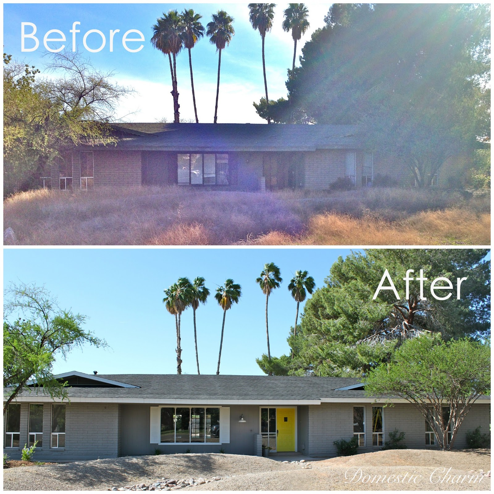 Domestic charm home remodel before and after exterior paint for Before and after home exteriors remodels