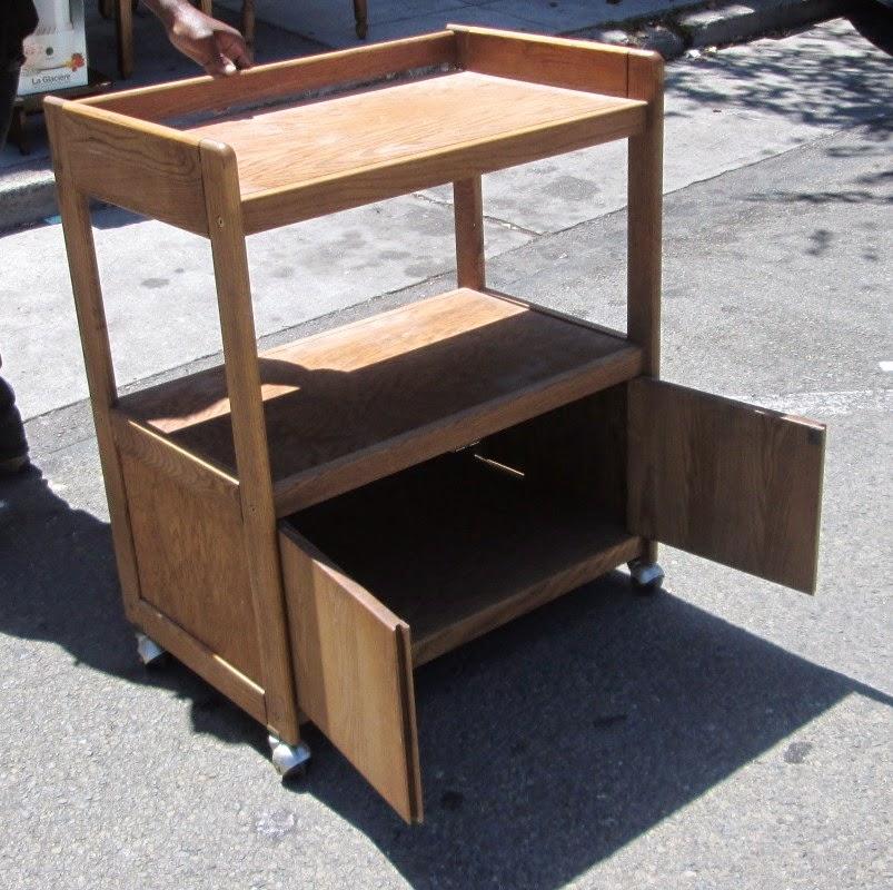 Oak Rolling Cart ~ Uhuru furniture collectibles sold oak rolling cart