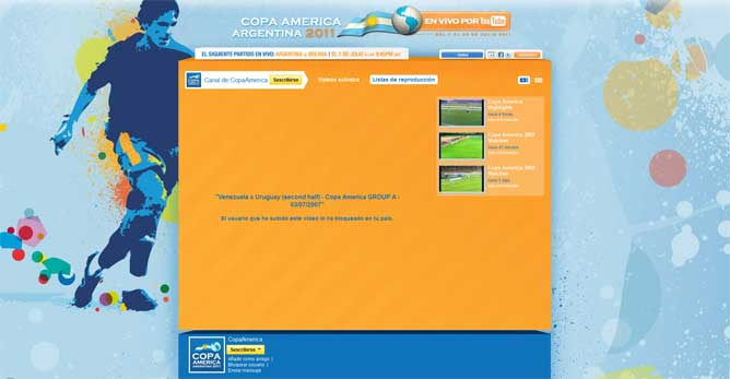 Copa América 2011 en vivo desde YouTube